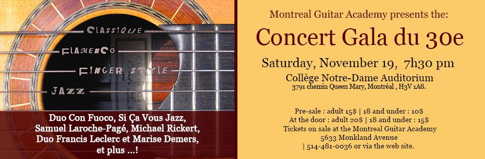 Concert Gala 30th anniversary - Montreal Guitar Academy